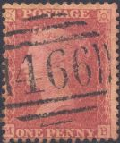 1857 1d Rose-red SG40 Plate 60 'MB' CV